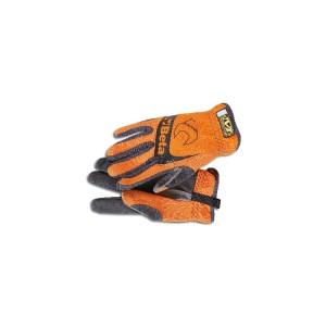 Rękawice robocze z elastycznymi mankietami, wzmocnionym kciukiem i palcem wskazującym, wykonane z syntetycznej skóry, odpowiednie do używania z ekranami dotykowymi, pomarańczowo-czarne