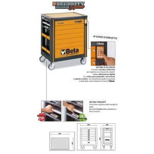 Wózek narzędziowy SECURITY System  z 7-ma szufladami