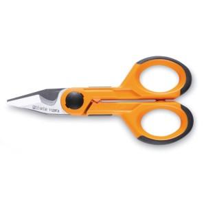 Nożyczki dla elektryków, ostrza proste ze stali nierdzewnej, z mikroząbkami, rowkiem do cięcia przewodów i szczękami do zaciskania końcówek kablowych