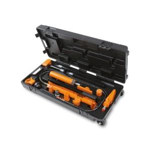 Zestaw pompy hydraulicznej ręcznej 10 t i akcesoriów do naprawy nadwozia, w praktycznej skrzynce z kółkami
