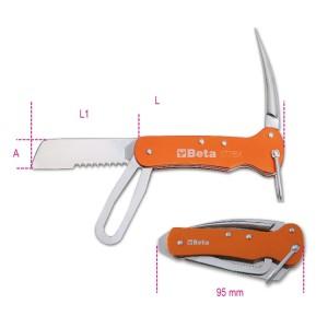 Nóż składany żeglarski, ostrze ze stali nierdzewnej, rękojeść aluminiowa