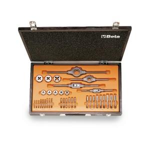 Zestaw gwintowników model 433ASW i narzynek model 440ASW ze stali chromowej, gwint Whitworth, z akcesoriami w pudełku drewnianym
