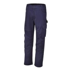 Spodnie robocze, materiał T/C, 245 g/m2,  z wstawkami elastycznymi w talii po bokach, niebieskie