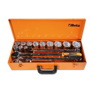 Zestaw 12 nasadek calowych sześciokątnych z akcesoriami w pudełku metalowym