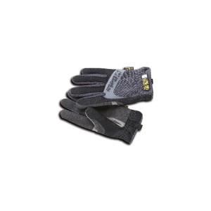 Rękawice robocze z elastycznymi mankietami, wzmocnionym kciukiem i palcem wskazującym, wykonane z syntetycznej skóry, odpowiednie do używania z ekranami dotykowymi, czarne