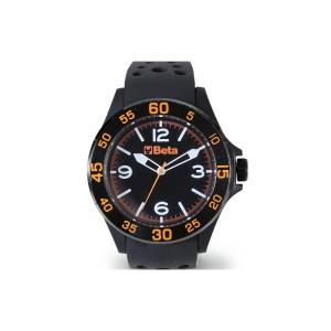 Zegarek analogowy, koperta z tworzywa sztucznego o miękkiej powierzchni, bezel z metalu, wodoszczelny do 3 atm, pasek silikonowy