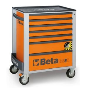 Wózek narzędziowy z siedmioma szufladami,  z systemem zabezpieczającym przed przewróceniem