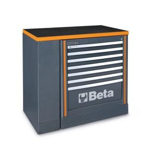 Zestaw szafki z 7 szufladami i blatu roboczego 1 m