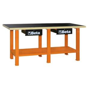 Stół warsztatowy z drewnianym blatem