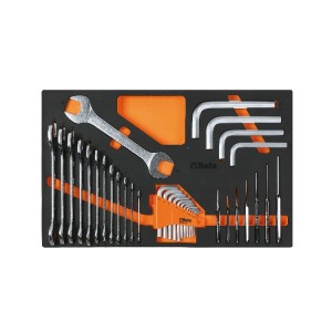 Zestaw kluczy płaskich i kluczy trzpieniowych kątowych sześciokątnych w miękkim wkładzie profilowanym