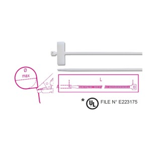 Abraçadeiras em nylon com etiqueta transversal 25x8mm, cor natural