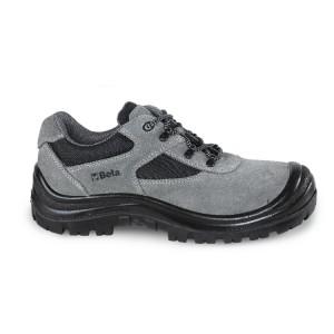 Sapato em camurça com aplicações em nylon e biqueira reforçada em poliuretano
