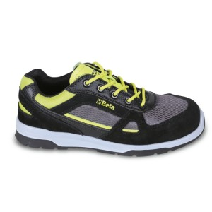 Sapato em camurça com aplicações de nylon e inserções em carbono