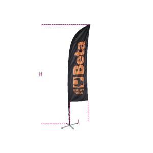 Bandeira promocional 2.5x0.50 m com mastro em alumínio, base cruzada com anel de peso