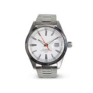 Relógio automático, mostrador em aço, resistente à água 5 ATM, bracelete em aço