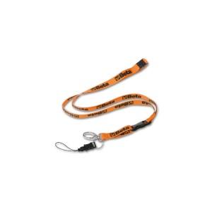Correia porta-chaves/telemóvel em poliéster,  com mosquetão metálico  e cordão para telemóvel