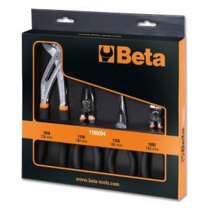Jogo1 alicate combinado para trabalhos pesados,  1 alicate de pontas longas, 1 alicate de corte e 1 alicate ajustável de charneira fechada, cromados