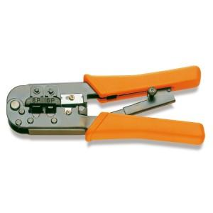 Alicate para cravar terminais de cabos  de telefone e de transmissão de dados