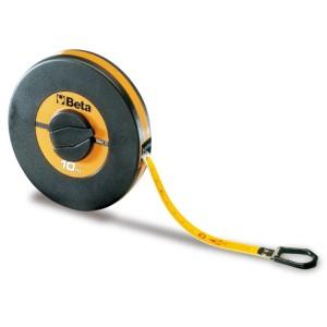 Fitas métricas longas caixa em ABS  anti-choque, fita em fibra de vidro  revestida a PVC, classe de precisão III