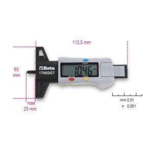 Instrumento digital de medição da profundidade das ranhuras dos pneus