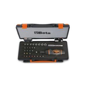 Jogo de ferramentas composto por 1 aparafusadora dinamométrica, 8 chaves de caixa manuais sextavadas, 20 bits e 2 acessórios em estojo metálico com insert para ferramentas maleável