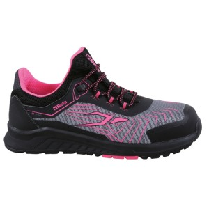 Sapato de senhora em tecido de malha de rede, altamente respirável, com aplicações em TPU gáspea com malha refletora de alta visibilidade  suporte à estabilidade do calcanhar, rebordo elástico no tornozelo  e sola em EVA com