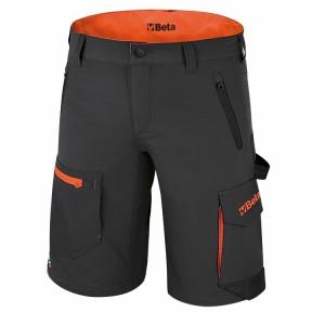 Bermudas de trabalho elásticas, leves, estilo multibolsos, 86% nylon - 14% elastano, 140 g/m2, cinza antracite bolsos traseiros reforçados em poliéster 300D, entrepernas reforçado Slim fit