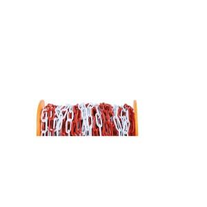 Corrente de barreira, em metal galvanizado pintado de vermelho e branco