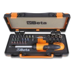 1 punho porta-pontas com roquete reversível, 27 bits, 8 chaves de caixa sextavadas e 2 acessórios  em estojo de metal com tabuleiro maleável