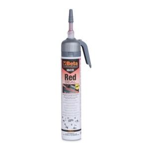 Selante silicónico de reticulação acética cor vermelha, resistente a temperaturas elevadas, com prático dispensador pressurizado