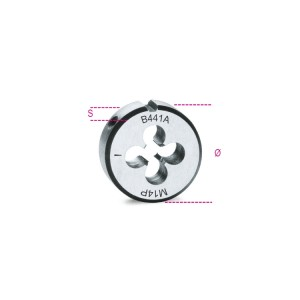 плашка круглая,  метрическая мелкая резьба,  хромированная сталь