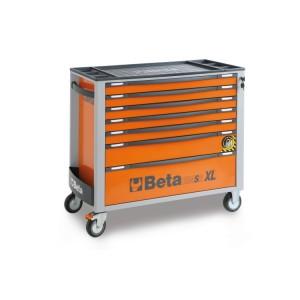Передвижной стеллаж на роликах с семью ящиками, удлиненный, с системой балансировки против наклонов