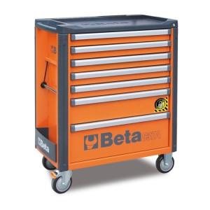 Тележка инструментальная на колесиках с 7 выдвижными ящиками и защитой от опрокидывания