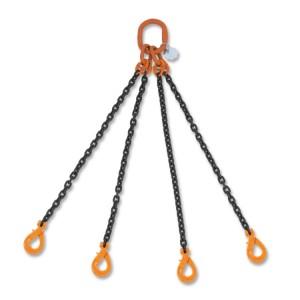 Стропы цепные, четырехветвевые, самозамыкающийся цепной крюк, класс 8