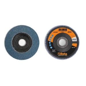 Discos lamelados com tela abrasiva de zircónia suporte em fibra de vidro e lâmina simples
