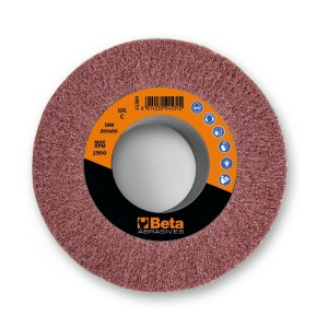 Rodas em tecido não tecido abrasivo com furo tecido em fibras sintéticas de coríndon
