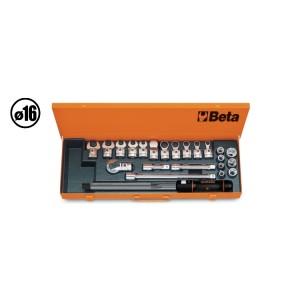 Jogo com torquímetro 668N/10 e acessórios em caixa metálica