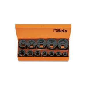 """Jogo de 12 soquetes de impacto, quadra de 1/2"""", em caixa metálica"""