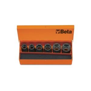 """Jogo de 6 soquetes de impacto, quadra de 1/2"""", em caixa metálica"""