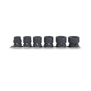 """Conjunto de 6 soquetes de impacto, série compacta Quadra fêmea de 1/2"""", Em suporte com quadra deslizante : 13 - 15 - 17 -19 - 22 - 24 mm"""