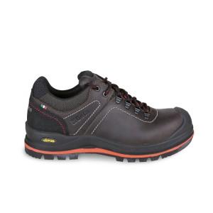 Sapato de couro integral engraxado com banda de borracha VIBRAM® de alto desempenho, inserto anti-abrasão na área do calcanhar e capa de reforço em poliuretano