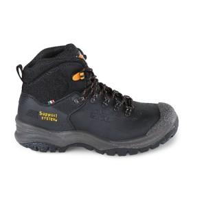 Sapato nobuck, impermeável, com SUPPORT SYSTEM para apoio lateral do tornozelo e sistema de abertura rápida