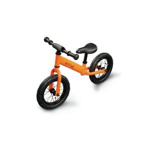 """Bicicleta de balanço, quadro de aço, roda de 12 """"com câmara de ar; recomendada para crianças a partir dos 3 anos; peso máximo: 30 kg"""