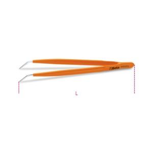 Pinça de pontas finas, curvas e estriadas, com guia, em aço inoxidável e cobertura de PVC
