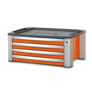 Caixa para ferramentas em alumínio, 4 gavetas, com encaixe para carro C39