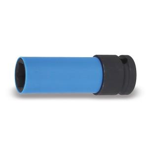 """Soquete de impacto, sextavado, longo, com capa de proteção de polímero colorido, para rodas de liga leve, quadra de 1/2"""""""