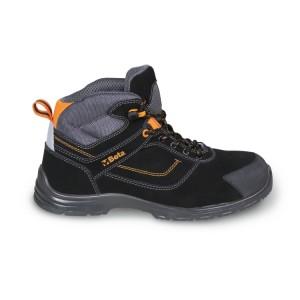Sapato de tornozelo nubuck, repelente de água, com inserção anti-abrasão na área das biqueiras e sistema de abertura rápida