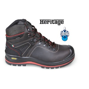 Sapato de tornozelo de couro integral com graxa, repelente à água, com banda de borracha VIBRAM® de alto desempenho, inserto antiabrasão na área do calcanhar e capa de reforço para a biqueira de poliuretano. Com membrana Tepo