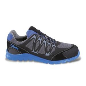 Sapato tecido malha, altamente respirável, com inserções de PU de alta frequência e biqueira de proteção feito de camurça.