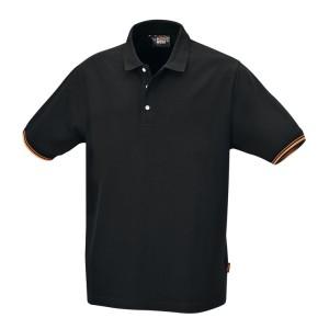 Camisa pólo de três botões, 100% algodão, 200 g/m², preto